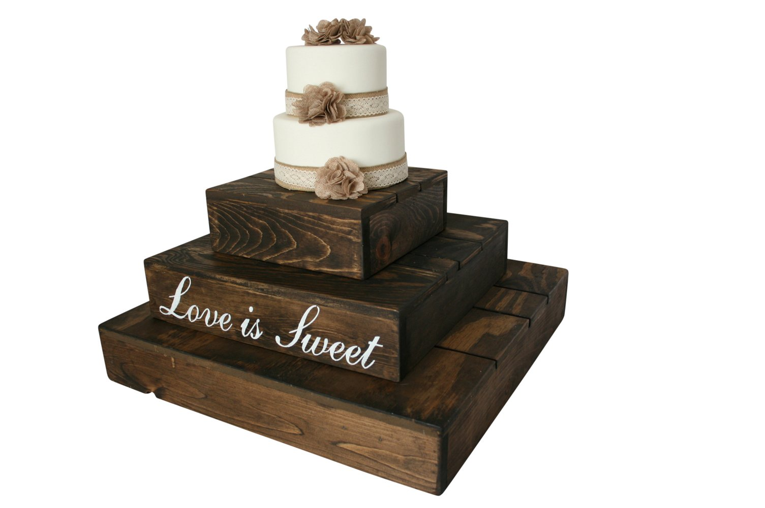 Rustic Wedding Country Barn Farmhouse Wedding Cake Cupcake Stand 3 Tier Rustic Wooden Country Cake Cupcake Stand (Dark Walnut) by Cleo Classic Designs (Image #1)