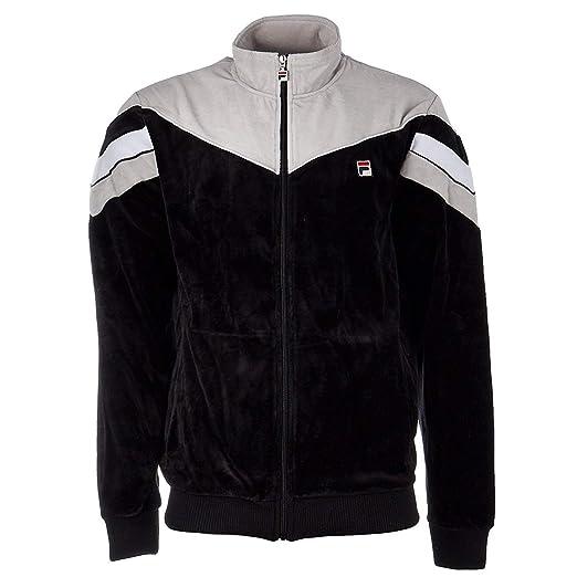 3c07163b56 Fila Men's Contrast Yoke Velour Jacket, Black, Highrise, L at Amazon Men's  Clothing store: