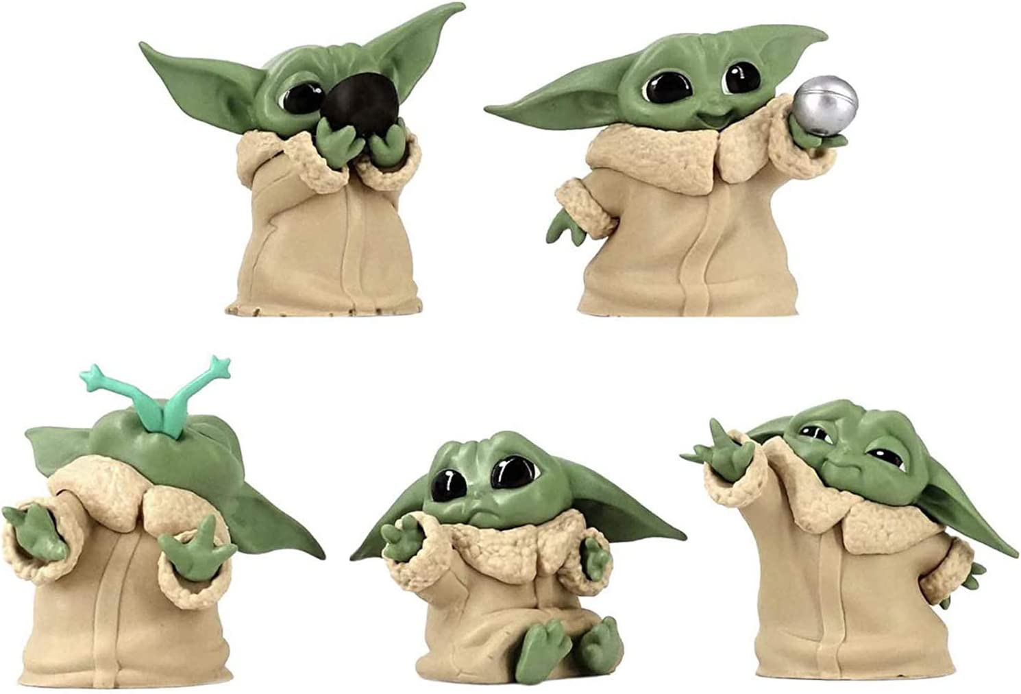 """The Child Collectible Toys 2.2-Inch The Mandalorian """"Baby Yoda"""", Action Figure Toy Figure 5-Pack"""