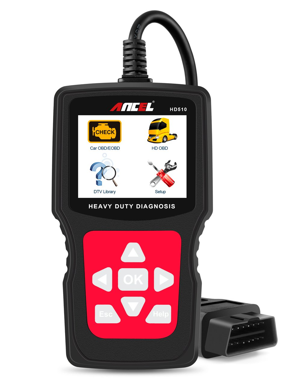 ANCEL HD510 Senior Check Engine Car OBD2 Diagnostic Code Reader Heavy Duty Truck HOBD Scanner with Mode 6 and Battery Status Check Function