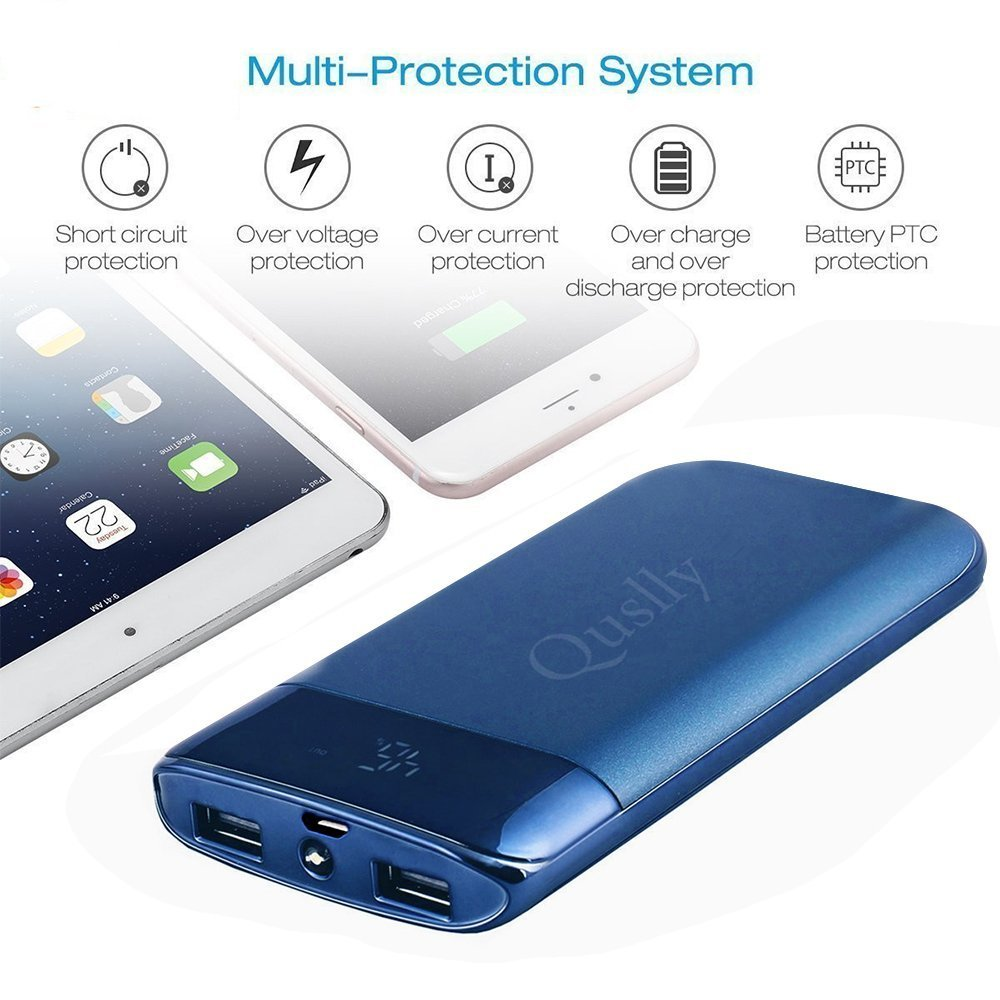 Quslly 20000 Mah Portable Power Bank With 2 Usb Ports Build Mobile Phone And Ipod Battery Charger Circuit Diagram External Backup Large Capacity Supply For Iphonex 8 7 6s 6