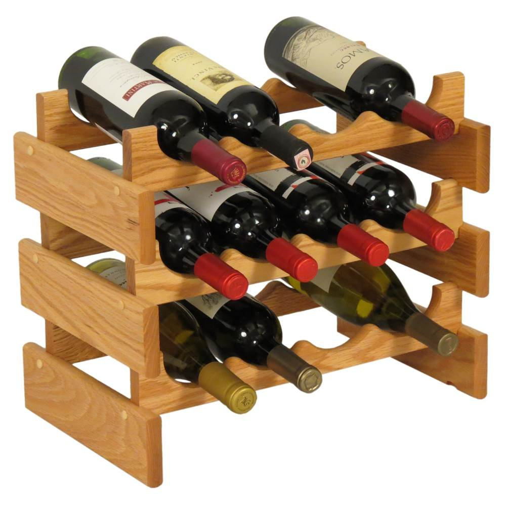 Wooden Mallet 12 Bottle Dakota Wine Rack, Light Oak