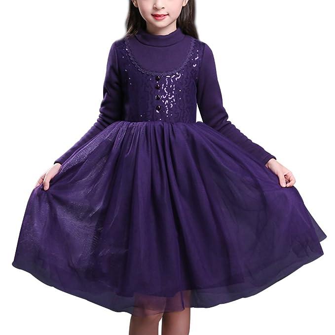 YoungSoul Vestidos de princesa niña manga larga invierno vestido para fiesta de noche con lentejuelas y