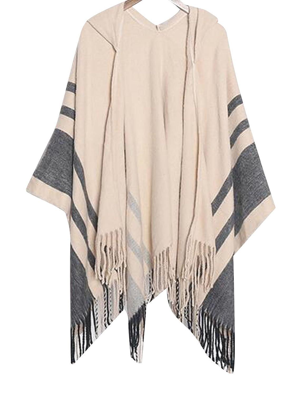 TRENDY XU Women Knit Hooded Cape Poncho Coat Tassel Scarf Shawl