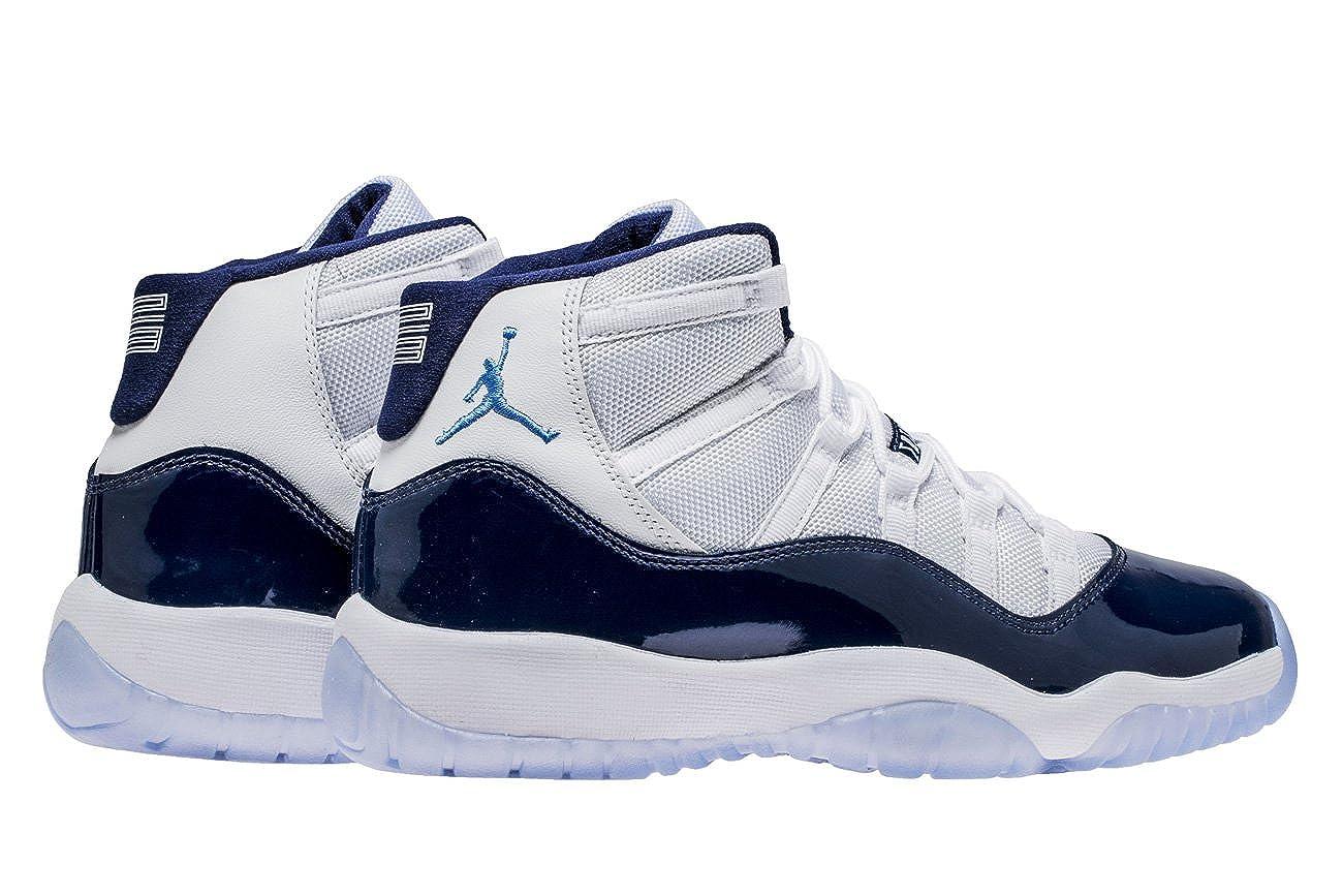 NIKE Air Jordan 11 Retro Herrenschuhe aus weißem Stoff und blauem Leder 378038 123