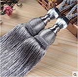 IHC Handmade Curtain Clips Rope Tie Band VS Lob Fring Tiebacks Europe Buckles Holdbacks Tassel Ball Rope / Set of 2 (Grey)