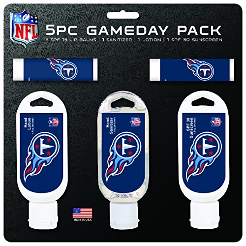 Worthy Promo NFL Tennessee Titans Game Day 5-Pack with 2 Lip Balms, 1 Hand Lotion, 1 Hand Sanitizer, 1 SPF 30 Sport Sunscreen