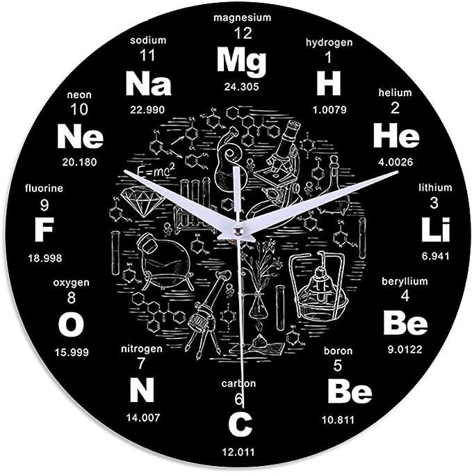 PopHMN Reloj De Pared Moderno con Tabla Periódica De Ciencia Química, Reloj De Símbolo De Química Científica, Reloj De Pared Redondo De Acrílico Mudo para Oficina En El Hogar, 12 Pulgadas Negro