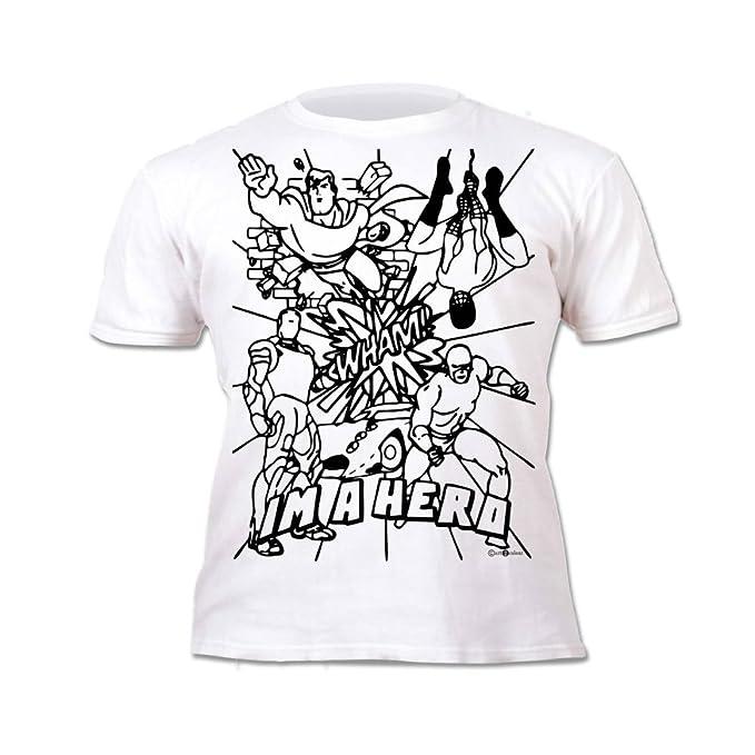 Splat Planet Camiseta HÉROE para niños. con impresión para Pintar y Colorear. Incluye 6