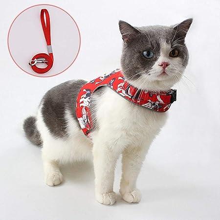 HGDS Juego de arnés y Correa de Malla de Nailon para Gatos Arnés Ajustable Reflectante a Prueba de Escape para arnés de Chaleco para Mascotas-Arnés de Gato Rojo_S (Busto 31-35 cm): Amazon.es: