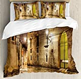 Gothic Decor Duvet Cover Set by Ambesonne, Gothic Ancient Stone Quarter of Barcelona Spain Renaissance Heritage Gothic Night Street Photo, 3 Piece Bedding Set with Pillow Shams, Queen / Full, Cream