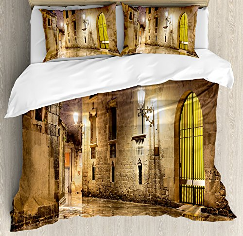 Gothic Decor Duvet Cover Set by Ambesonne, Gothic Ancient Stone Quarter of Barcelona Spain Renaissance Heritage Gothic Night Street Photo, 3 Piece Bedding Set with Pillow Shams, Queen / Full, Cream by Ambesonne