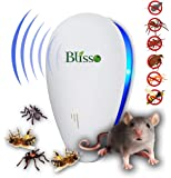 Ultrasonic Pest Repeller Best Pest Control Warrior Blisso Mouse Repellent Electronic Plug In Extreme Power Eco Friendly LED Device Outdoor/Indoor Eliminate All Types of Insects and Rodents Eco Safe for Humans and Pets (2018 Modern Design)