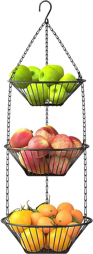 Amazon Com 3 Tier Hanging Fruit Basket Steelgear Wire Vegetable Produce Basket For Kitchen Heavy Duty Fruit Storage Organizer Black Fruit Holder Kitchen Dining