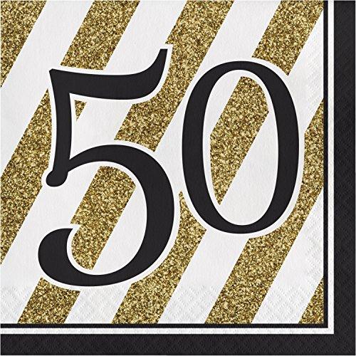 Black and Gold 50th Birthday Napkins, 48 ct ()