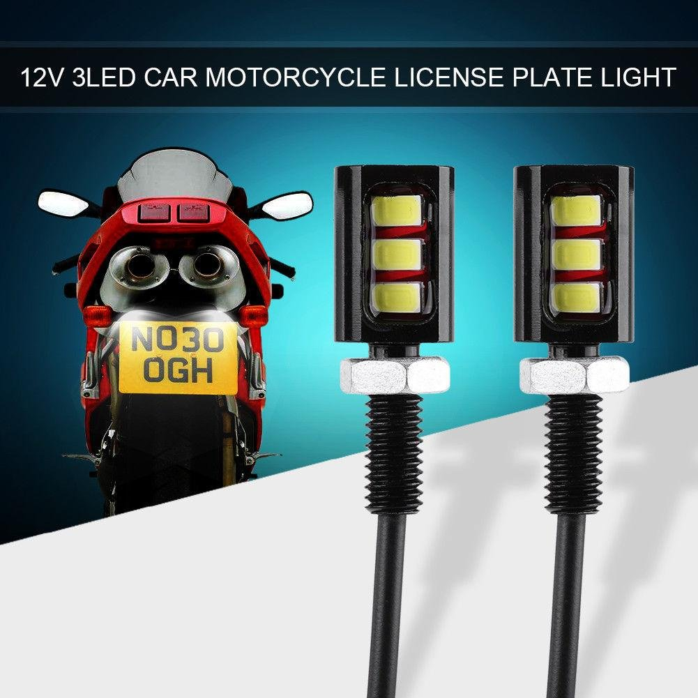 RUNGAO NEUF 2 pcs de voiture auto moto Nombre Piton de plaque d'immatriculation lumiè re 3smd lampe