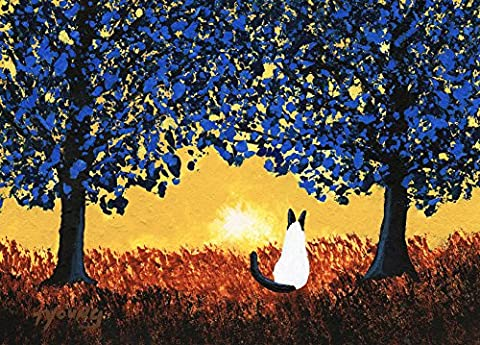 Siamese Cat Seal Point Folk art PRINT by Todd Young BLUE TREES - Seal Point Siamese Cats