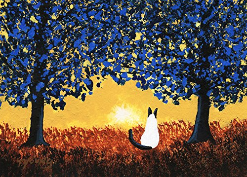 - Siamese Cat Seal Point Folk art PRINT by Todd Young BLUE TREES