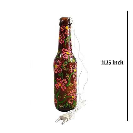 India Meets India - Lámpara eléctrica con forma de botella decorativa pintada a mano, lámpara