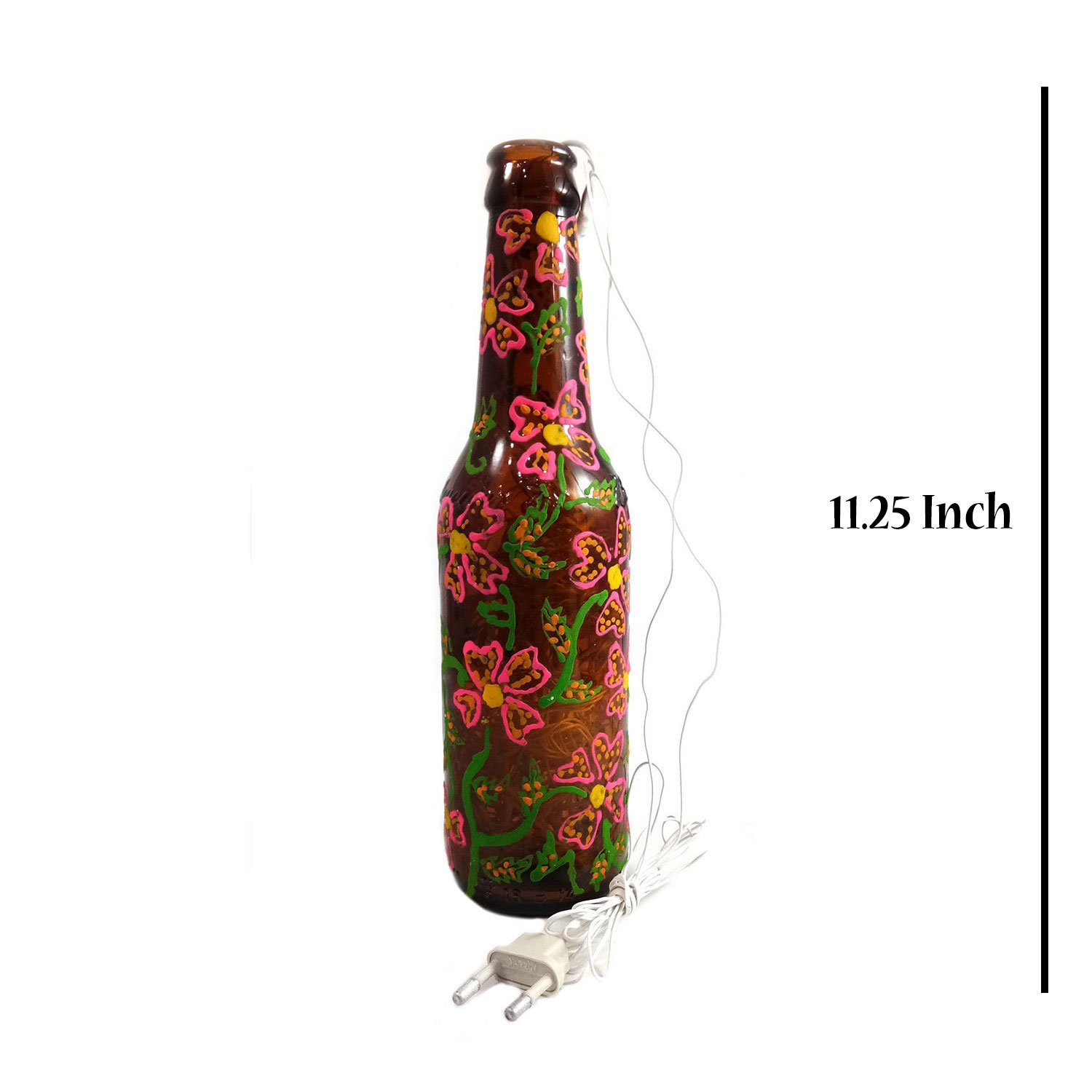 India Meets India Decorative Bottle Shape Electric Lamp Hand Painted Bottle Shape Lamp Lanterns Use As Table Lamp, Desk Lamp, Hanging Lamp Qty 1 Decorative Accents