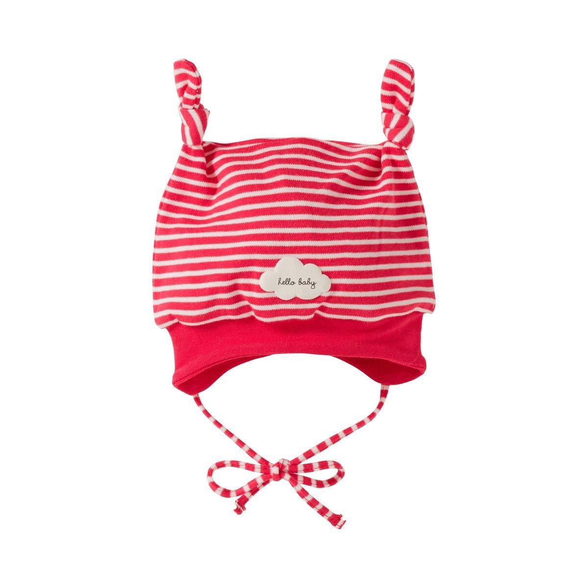 Bornino Basics M/ütze sch/ützt vor K/älte Ringel-Look gestreifte Babym/ütze mit Zipfeln Baby-M/ützchen zum Binden mit Wolken-Print