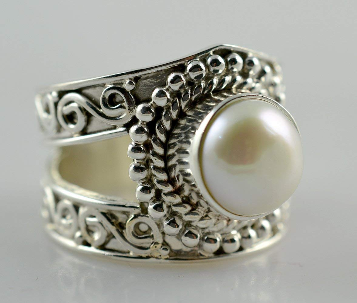 Fresh Water Pearl Silver Ring, Pearl Ring, 925 Solid Sterling Silver Ring, Pearl Jewelry, Pearl Ring for Women, Handmade Ring Size 3-14 US