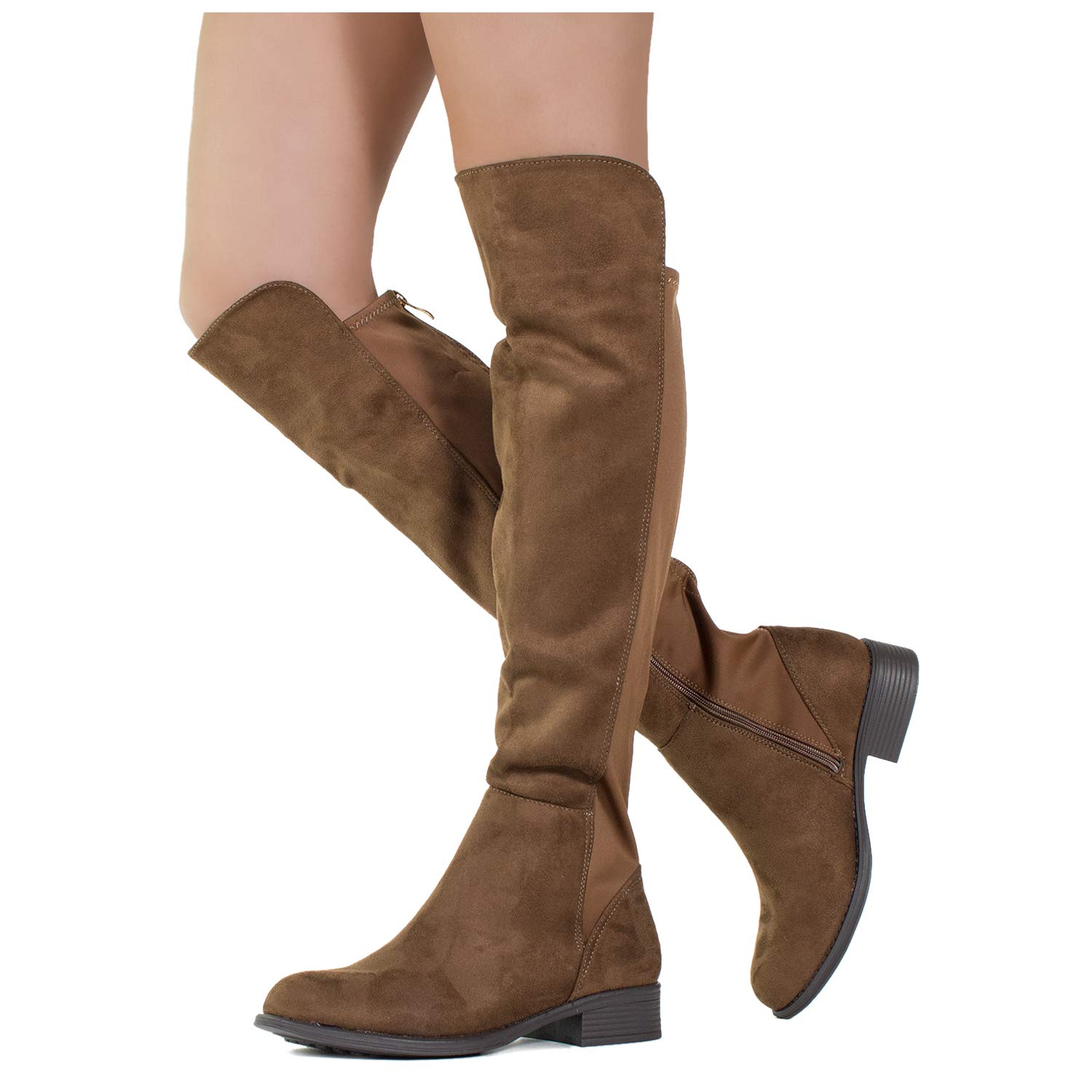 Brown Suede ROF Women's Fashion Comfy Vegan Suede Block Heel Side Zipper Thigh High Over The Knee Boots