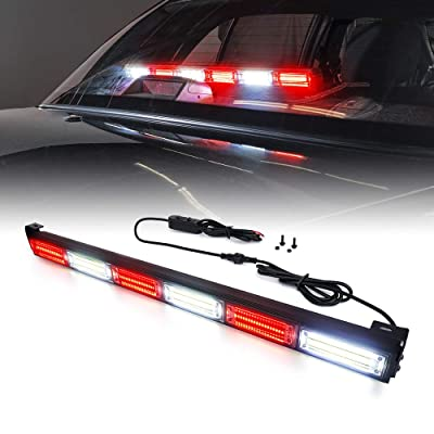 Xprite 27 Inch Red and White COB Traffic Advisor Strobe Lights Bar w/ 21 Flash Patterns, Hazard Warning Directional Flashing Fire Firefighter LED Light for Emergency Vehicles Trucks: Automotive