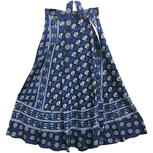 Yoga Trendz Indian Bohemian Blue Indigo Ethnic Print Wrap Around Gypsy Maxi Long Skirt