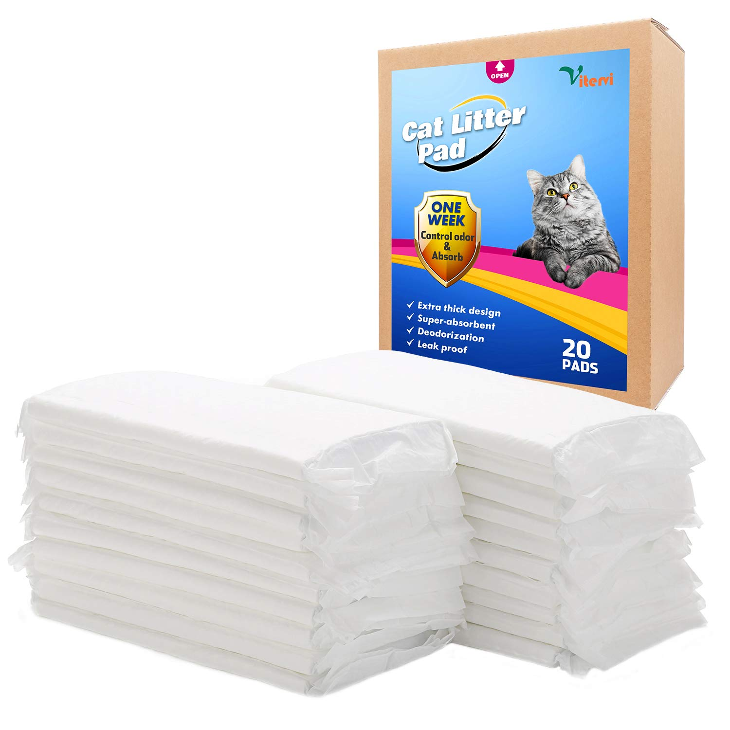 Vitervi Cat Litter Pad, 20 Count Cat Pad Refills for Breeze Litter System 16.9''x11.4'' by Vitervi