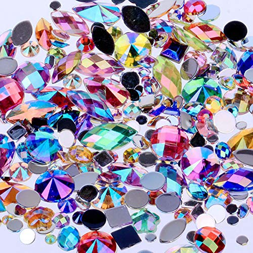 Mixed 300Pcs Crystal Clear AB Nail Art Rhinestones DIY Non Hotfix Flatback Acrylic Nail Stones Gems For 3D Nails Art Decorations Mixed ()