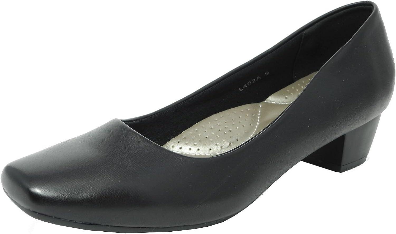 plain black leather court shoes