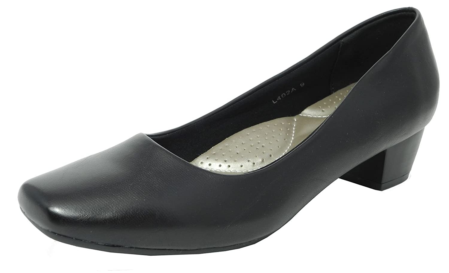 bb73e8fc83f Womens Ladies Leather Lined Comfortable Ultra Padded Insole Black Low Heel  Court Shoes Size 2 3 4 5 6 7 8 9