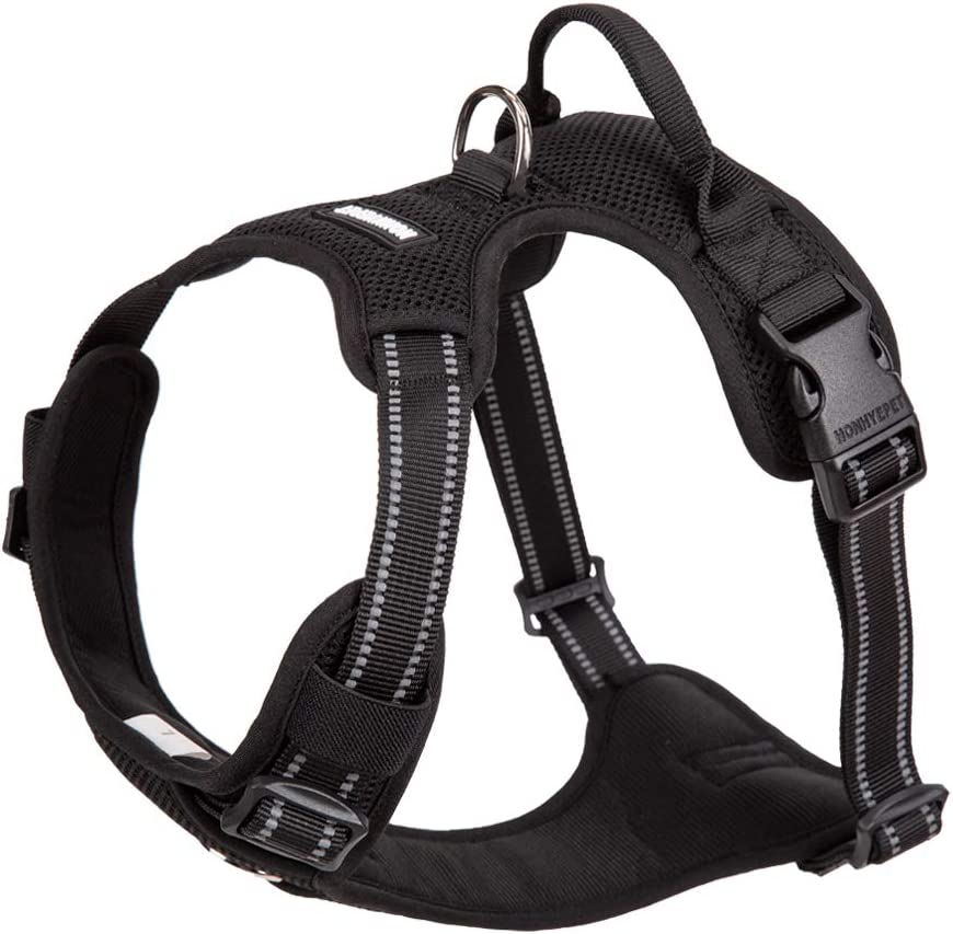 Chai's Choice New Soft Mesh No-Pull Dog Harness. Adjustable Pet Vest with 3M Reflective Straps, 2 Leash Attachments. Small, Medium, Large Dogs. Please Measure Dog Carefully Before Ordering