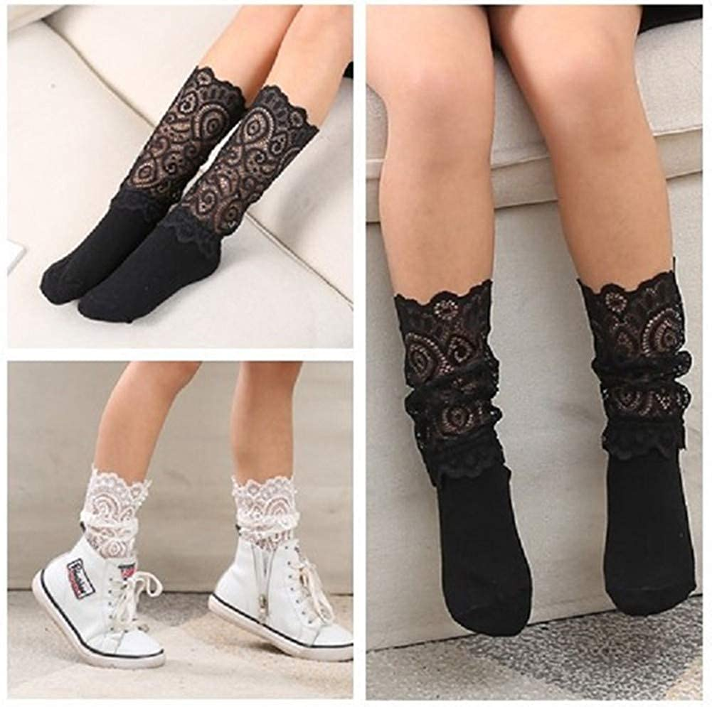 Black+White Women Lace Princess Vintage Casual Soft Dress Socks for Girls 2 Pairs