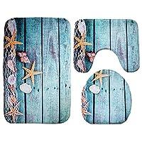 LifePlus 3 en 1 Ensemble de Tapis de Salle de Bain Tapis de Bain WC Tapis de WC avec Sea World Motif écaille de Style étoile de mer pour Salle de Bain Cuisine Salon Chambre à Coucher