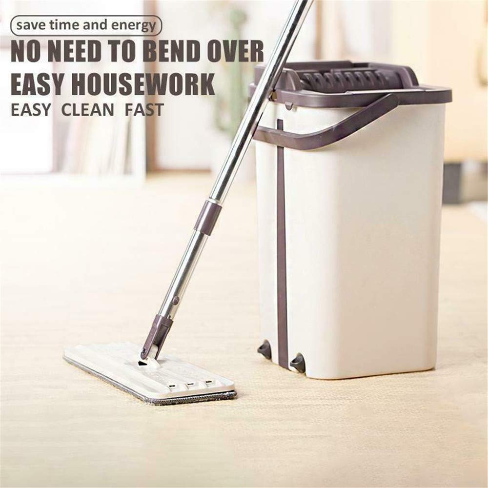 Home Mop and Bucket - Self Cleaning Flat Mop Bucket & 4 Pads by uramircle (Image #2)