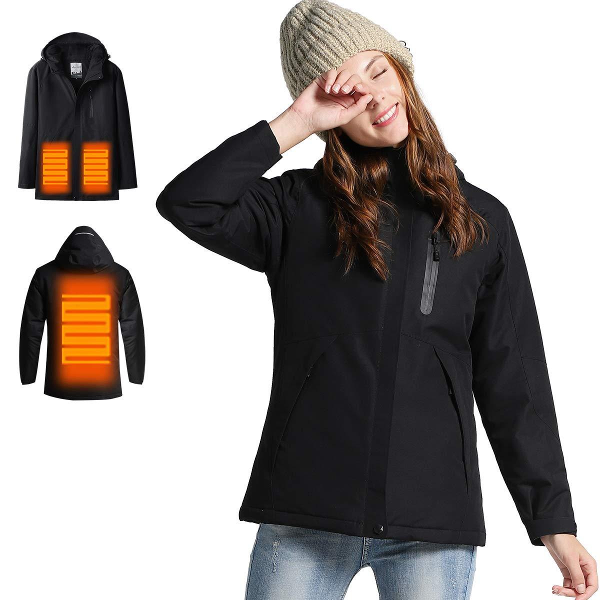 Venustas Women's Heated Jacket Winter Jacket with Non-Detachable Hood, Waterproof& Windproof (ADD Battery Pack to CART) Black by Venustas