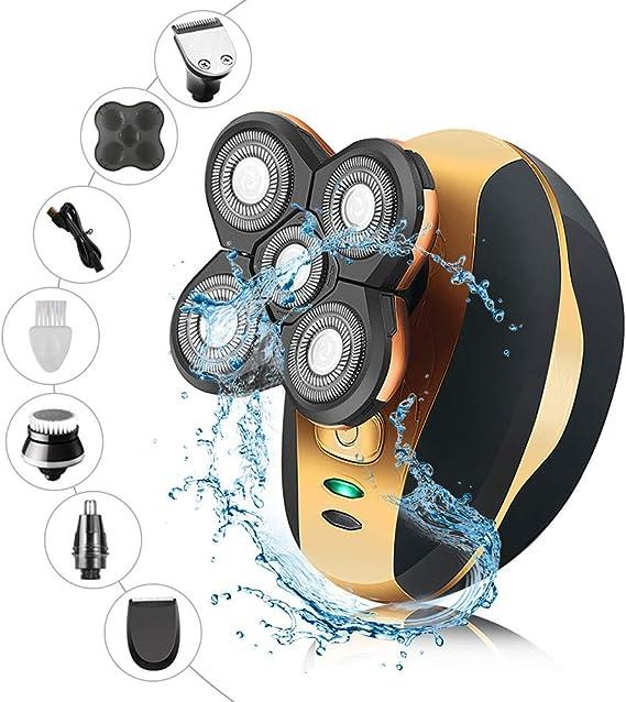 4YANG Afeitadora rotativa eléctrica 4D Afeitadoras flotantes de cabeza y cara 5 en 1 IPX7 100% impermeable USB portátil recargable Kit de recortadora de aseo de uso dual húmedo y seco: Amazon.es: