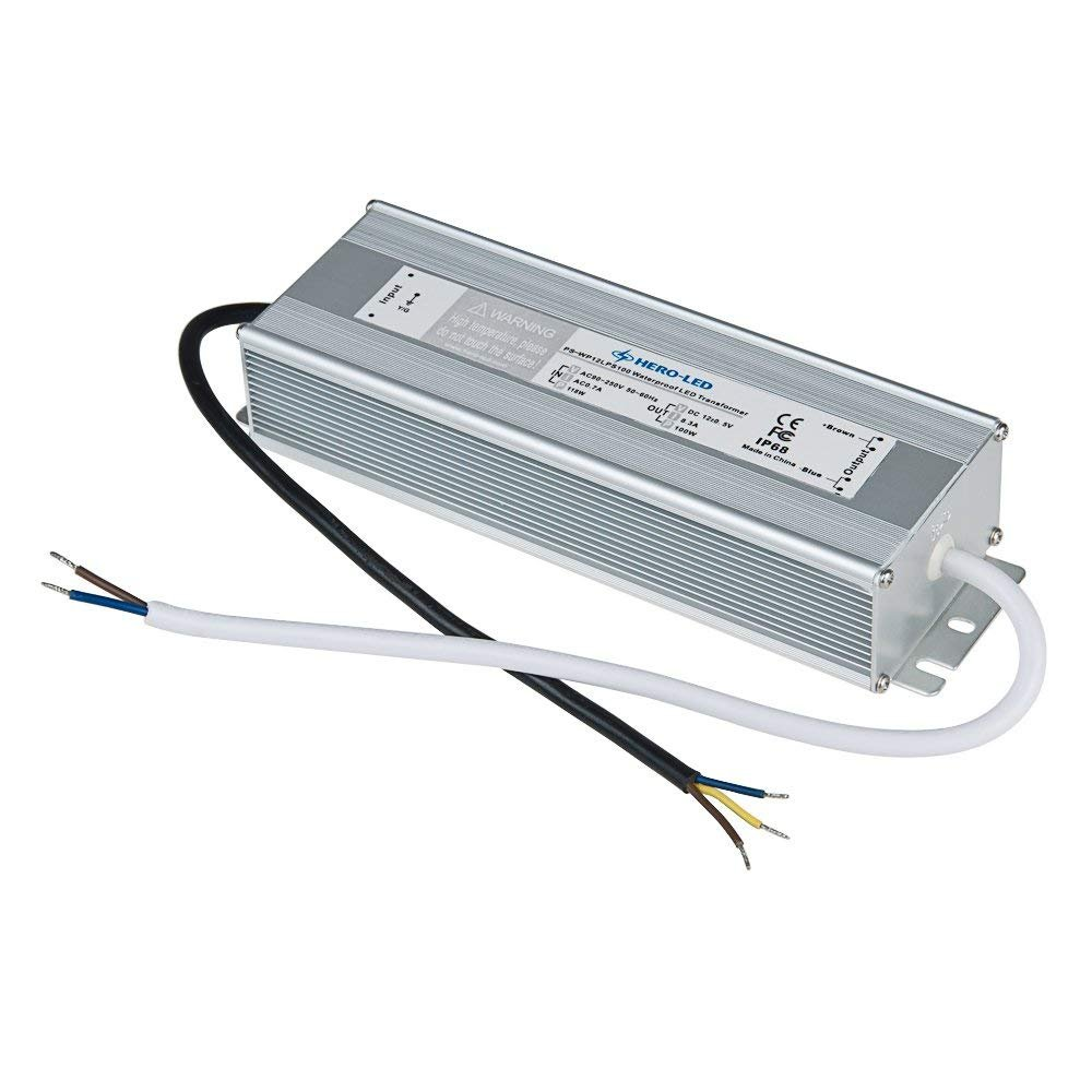 HERO-LED PS-WP12LPS100 LED Power Supply - Constant Voltage LED Transformer - Waterproof Power Supply 12V DC, 8.3A, 100W