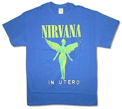 7416e669 Amazon.com: Nirvana Neon in Utero Album Blue T Shirt Kurt Cobain ...