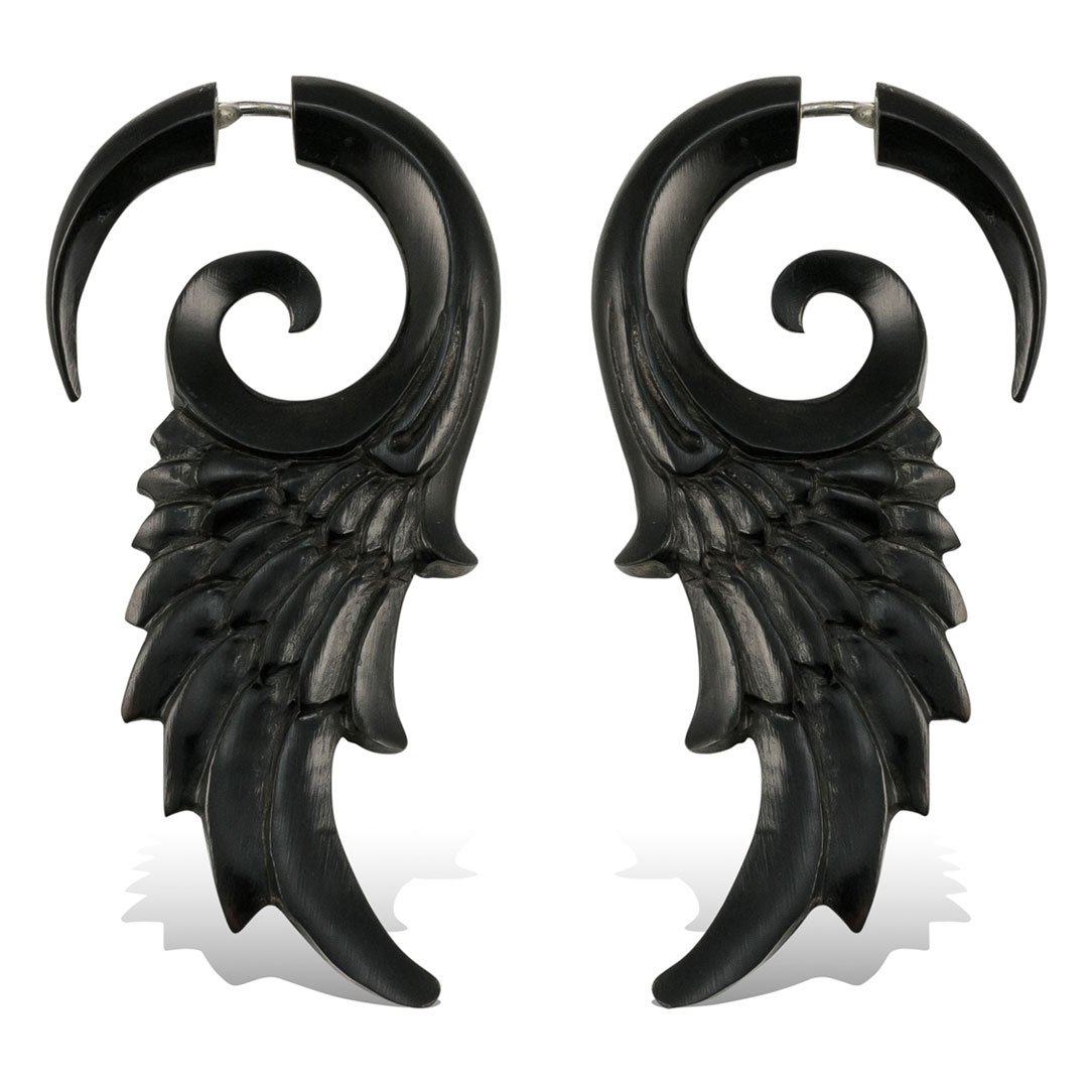 Fake Plugs Earrings Hand Carved Horn Flared Wings Faux Gauges