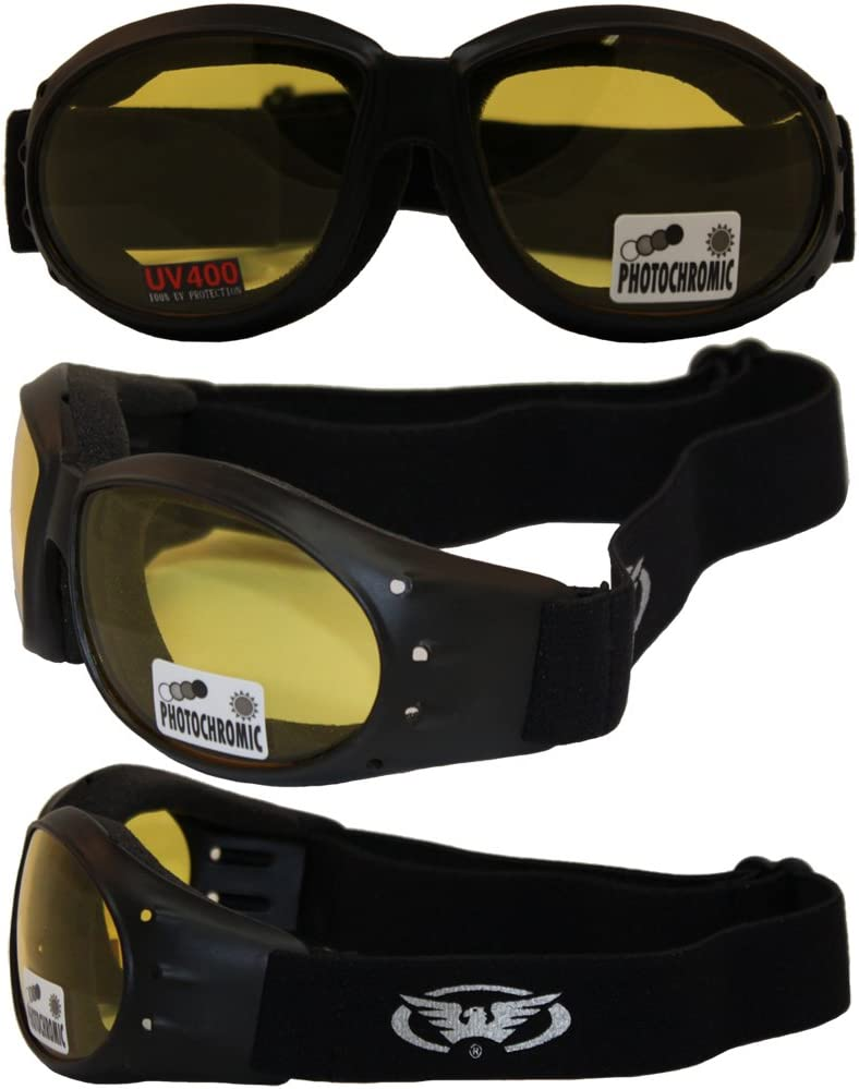Eliminator 24 Yellow Tint-Transitional Lens Red Baron Motorcycle Aviator Riding Goggles Day Night With Photocromatic Transition Lenses (Yellow to Smoke) Boxed and Includes Micro Fiber Pouch for Storage and Safe Cleaning.