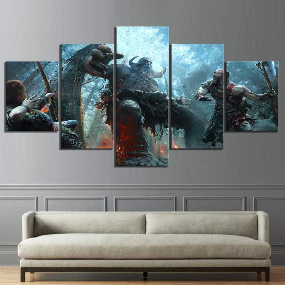 Enmarcado Cuadro God Of War Game Xxl Impresiones En Lienzo 5 Piezas Cuadro Moderno En Lienzo Decoraci/ón Para El Arte De La Pared Del Hogar 150/×80 Cm Hd Impreso Mural