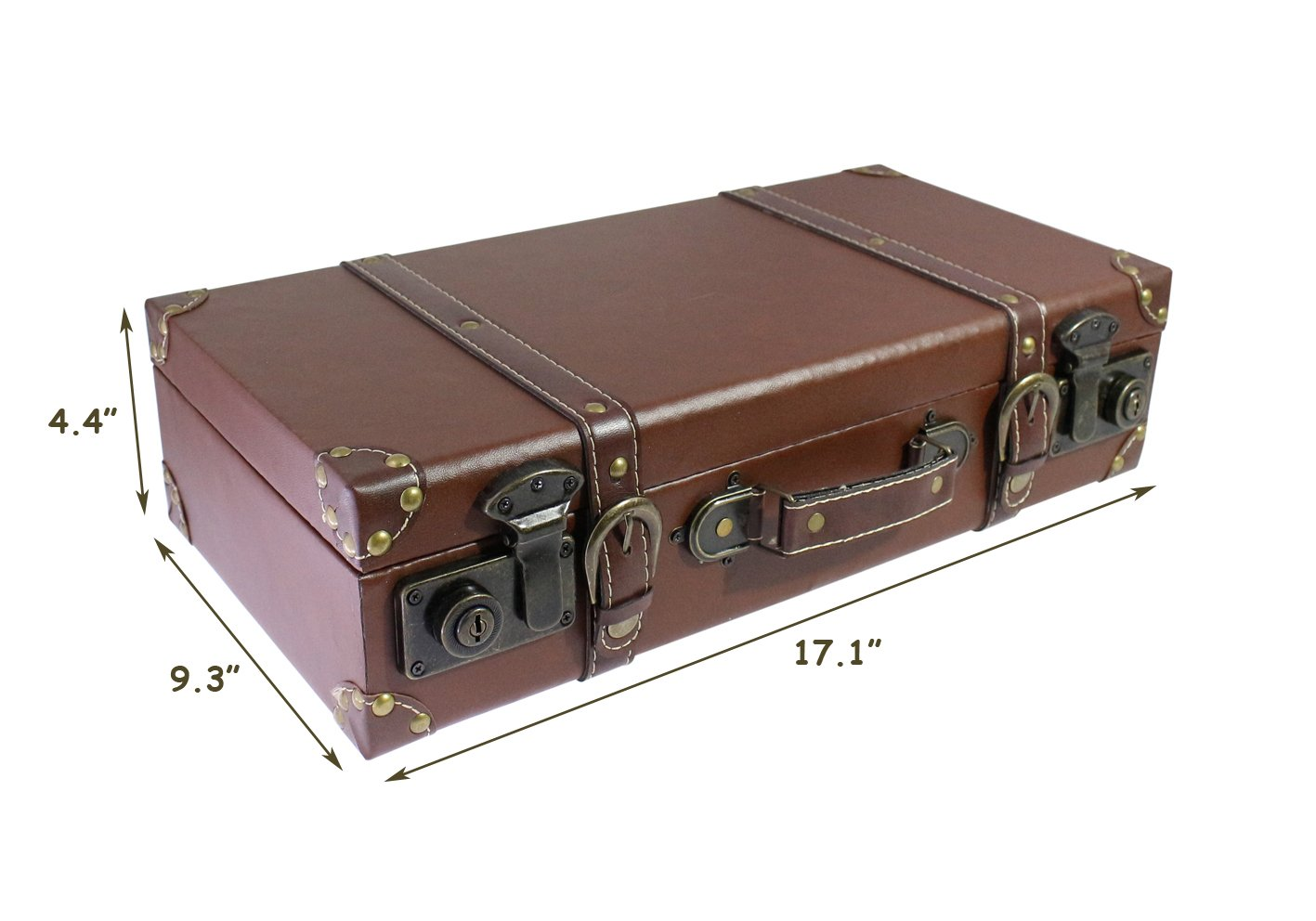 17.1'' Vintage Looking, Medium Wooden Faux Leather Suitcase with Handle for│Home Decor│Studio Photo Booth Props│Showcase Display - Brown