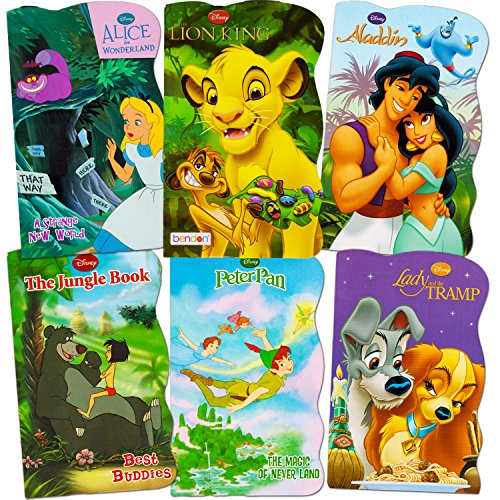 Disney Baby Toddler Beginnings Board Books Super Set (Set of 6 Toddler Books -- Aladdin, the Aristocats, Peter Pan, the Jungle Book, Lady and the Tramp and Alice in Wonderland)