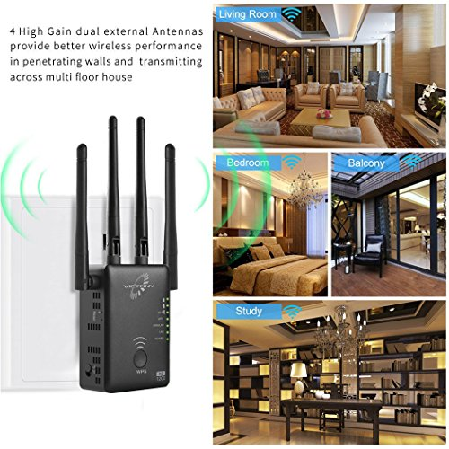 VICTONY WA1200-1200Mbps Dual Band WiFi Range Extender with 4 External 3dBi Antennas Signal Booster with 360 Degree WiFi Repeater (BK-2)