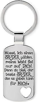 12 cm Lieblingsmensch Familien Silber M/üsst ich einen Bruder w/ählen Schl/üsselanh/änger