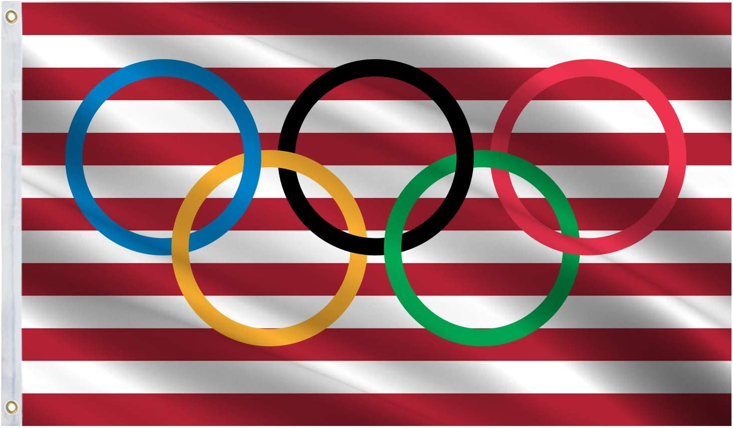 Olympic Games Flag 3x5 Ft Large,Vivid Color and UV Fade Resistant-Olympics Rings International Banner Flag Great for College Dorm,Room Decor,Outdoor,Parties,Gift,Tailgates 36x60inch