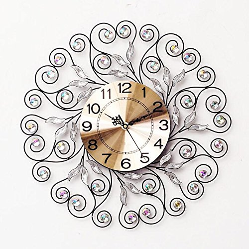 CLOCK Wall Iron Art Circular Mute Rhinestone Modern European Creative Decoration Living Room Office 5050Cm ORPERSIST,Black (Round Plate Scale Dial)